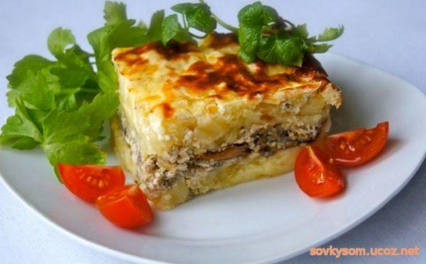 Запеканка из фарша и картофеля и овощей в духовке рецепты